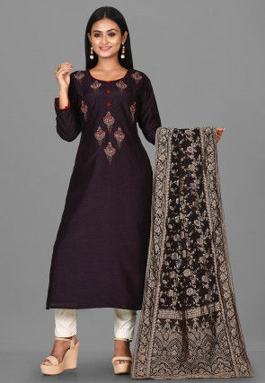 Hand Embroidered Art Silk Pakistani Suit in Wine