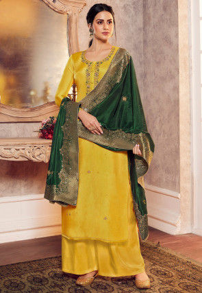 Hand Embroidered Art Silk Pakistani Suit in Yellow