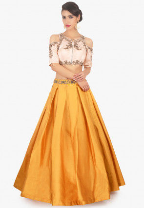Hand Embroidered Art Silk Pleated Lehenga in Mustard