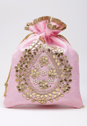 Hand Embroidered Art Silk Polti Bag in Baby Pink
