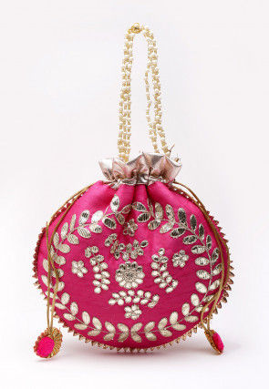 Hand Embroidered Art Silk Polti Bag in Fuchsia