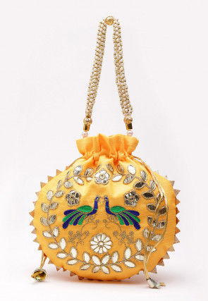 Hand Embroidered Art Silk Polti Bag in Light Yellow