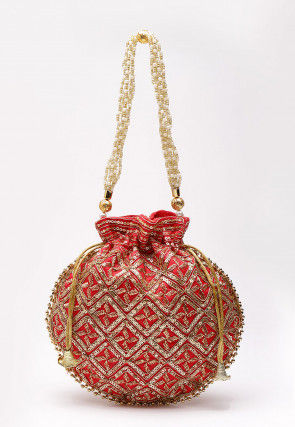 Hand Embroidered Art Silk Polti Bag in Red