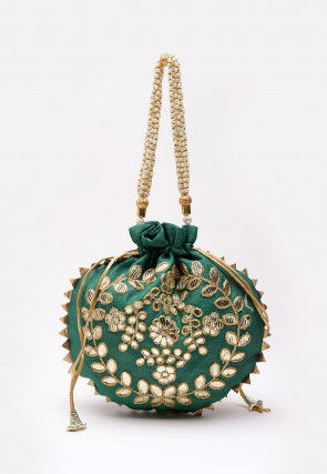 Hand Embroidered Art Silk Polti Bag in Teal Green