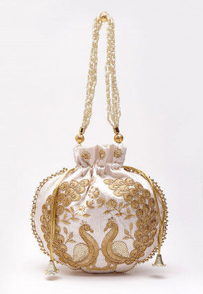 Hand Embroidered Art Silk Polti Bag in White