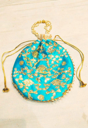 Hand Embroidered Art Silk Potli Bag in Blue