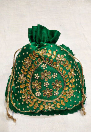Hand Embroidered Art Silk Potli Bag in Dark Green