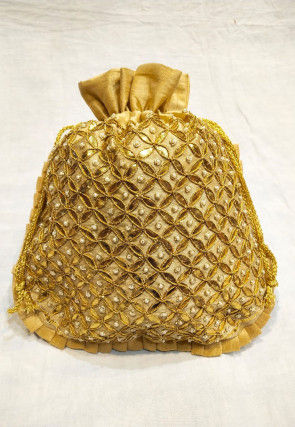 Hand Embroidered Art Silk Potli Bag in golden