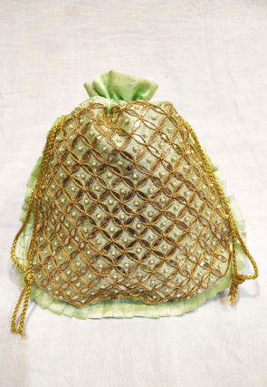 Hand Embroidered Art Silk Potli Bag in Light Green