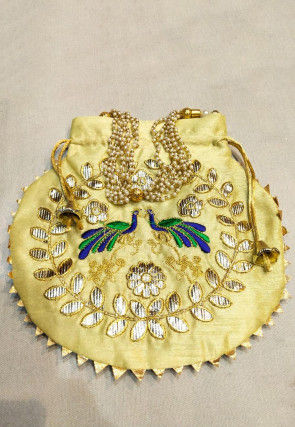 Hand Embroidered Art Silk Potli Bag in Light Yellow