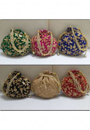 Hand Embroidered Velvet Potli Bag in Multicolor