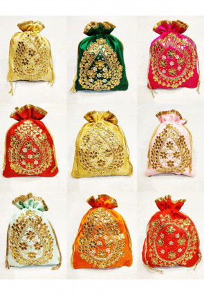 Hand Embroidered Art Silk Potli Bag in Multicolor