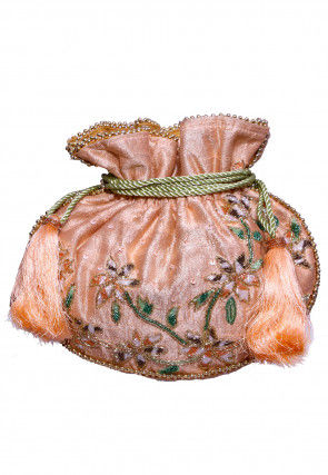 Hand Embroidered Art Silk Potli Bag in Peach