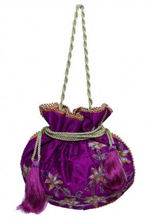 Hand Embroidered Art Silk Potli Bag in Purple