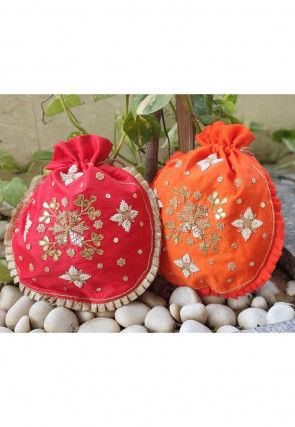 Hand Embroidered Art Silk Potli Bag in Red and Orange