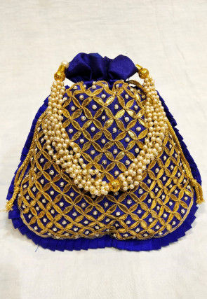 Hand Embroidered Art Silk Potli Bag in Royal Blue