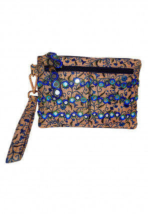 Hand Embroidered Art Silk Pouch in Beige and Blue