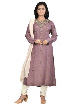 Hand Embroidered Art Silk Punjabi Suit in Dusty Purple