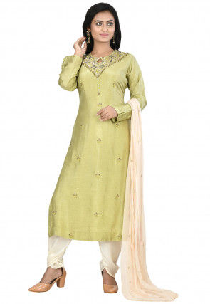 Hand Embroidered Art Silk Punjabi Suit in Light Olive Green