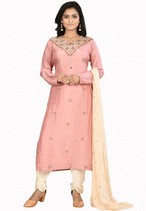 Hand Embroidered Art Silk Punjabi Suit in Light Pink