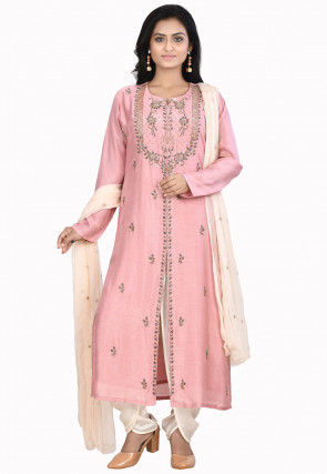 Hand Embroidered Art Silk Punjabi Suit in Pink