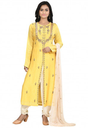Hand Embroidered Art Silk Punjabi Suit in Yellow