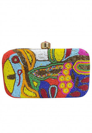 Hand Embroidered Art Silk Rectangluar Clutch Bag in Multicolor