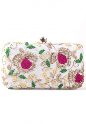 Hand Embroidered Art Silk Rectangular Box Clutch Bag in Off White
