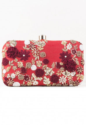 Hand Embroidered Art Silk Rectangular Box Clutch Bag in Red