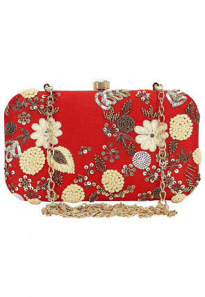 Hand Embroidered Art Silk Rectangular Clutch Bag in Red