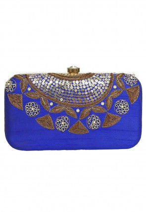 Hand Embroidered Art Silk Rectangular Clutch Bag in Royal Blue