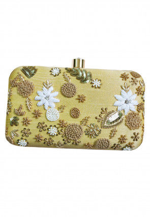 Hand Embroidered Art Silk Retangular Box Clutch Bag in Beige