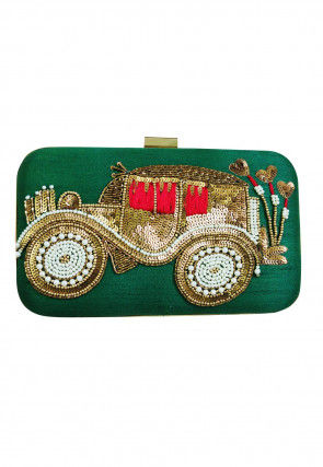Hand Embroidered Art Silk Retangular Box Clutch Bag in Green