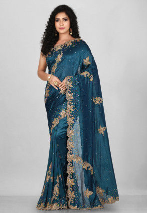 Hand Embroidered Art Silk Saree in Dark Teal Blue
