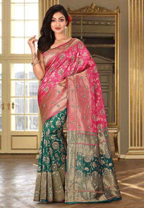 Hand Embroidered Art Silk Saree in Fuchsia and Teal Green