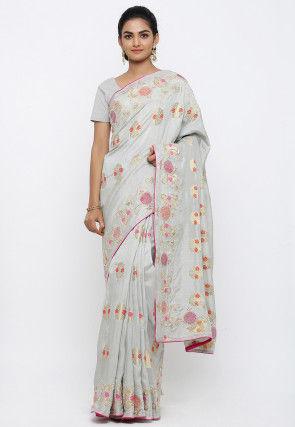 Hand Embroidered Art Silk Saree in Light Grey