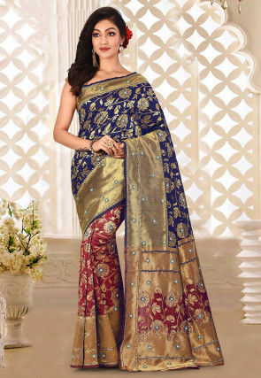 Hand Embroidered Art Silk Saree in Maroon and Navy blue