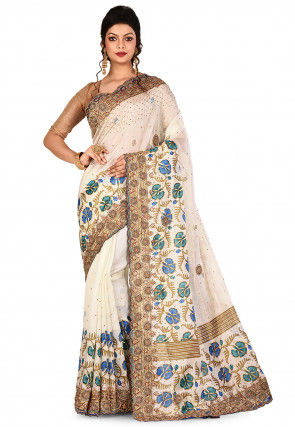 Hand Embroidered Art Silk Saree in Off White