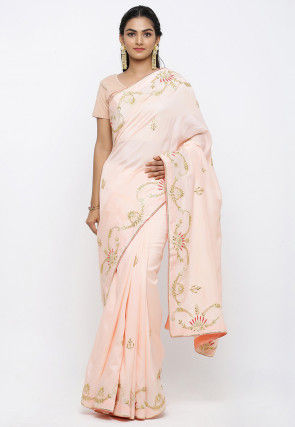 Hand Embroidered Art Silk Saree in Peach