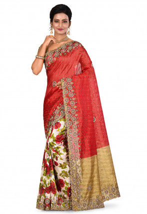 Hand Embroidered Art Silk Saree in Red and White