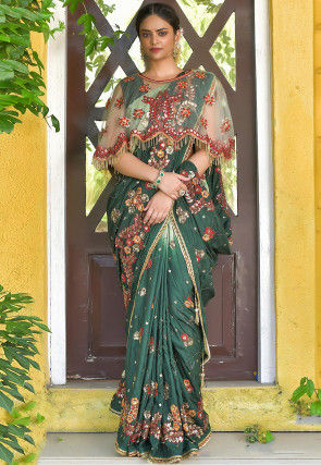 Hand Embroidered Art Silk Saree in Shaded Green