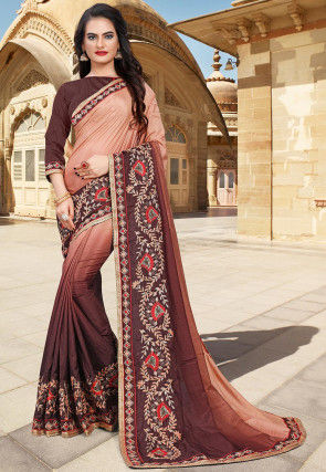Hand Embroidered Art Silk Saree in Shaded Peach and Brown