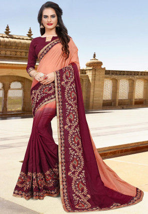 Hand Embroidered Art Silk Saree in Shaded Peach and Maroon