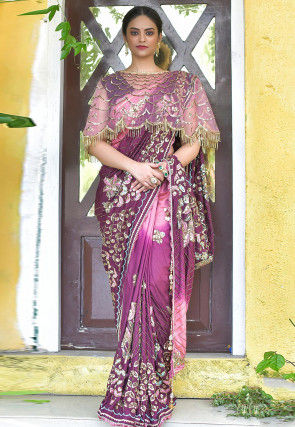 Hand Embroidered Art Silk Saree in Shaded Pink and Purple