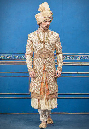Hand Embroidered Art Silk Sherwani in Beige and Orange