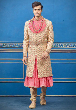 Hand Embroidered Art Silk Sherwani in Beige