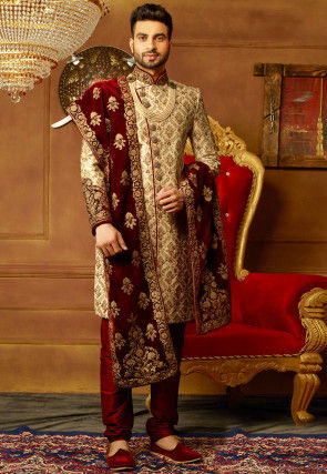 Hand Embroidered Art Silk Sherwani in Light Beige