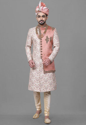 Hand Embroidered Art Silk Sherwani in Off White and Pink
