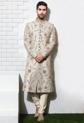 Hand Embroidered Art Silk Sherwani in Off White