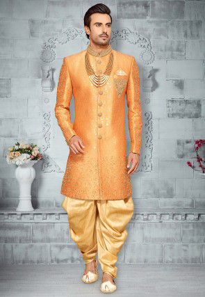 Hand Embroidered Art Silk Sherwani in Orange